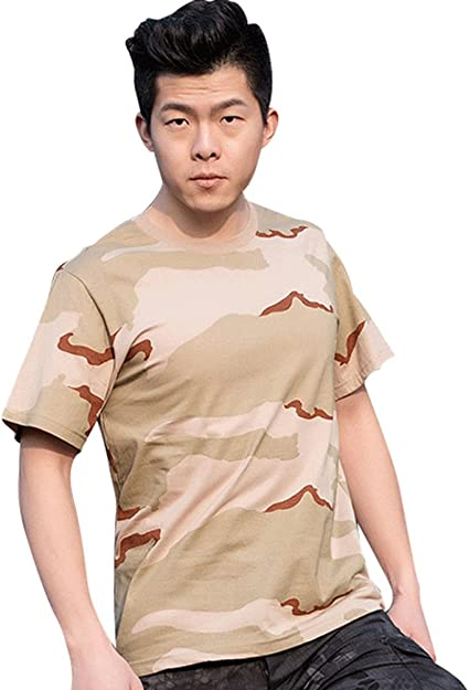YuanDian Homme Tactique Camo Militaire T-Shirt Manches Courtes S/échage Rapide Impression /Ét/é D/écontract/ée De Plein Air Respirant Arm/ée Chemises Haut De Camouflage