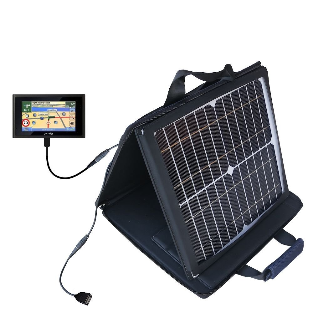 Gomadic SunVolt High Output Portable Solar Power Station designed for the Mio Moov 500 - Can charge multiple devices with outlet speeds by Gomadic