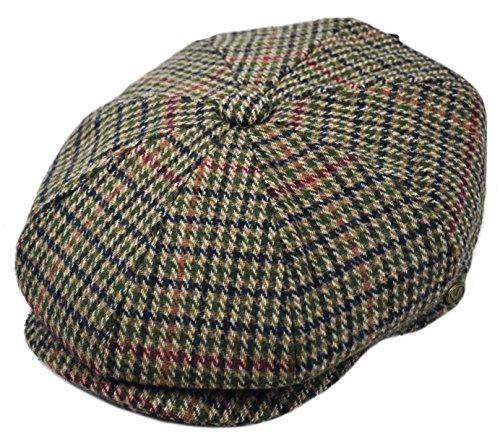 mens-premium-wool-applejack-newsboy-8-panel-hat-snap-brim-cap-xlarge-green-houndstooth