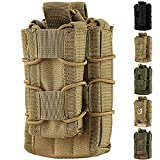 Hoanan Double Mag Pouch, Tactical Molle Magazine Pouch Open-Top Single Rifle Pistol Mag Pouch Cartridge Clip Pouch Hunting Bag (Brown)