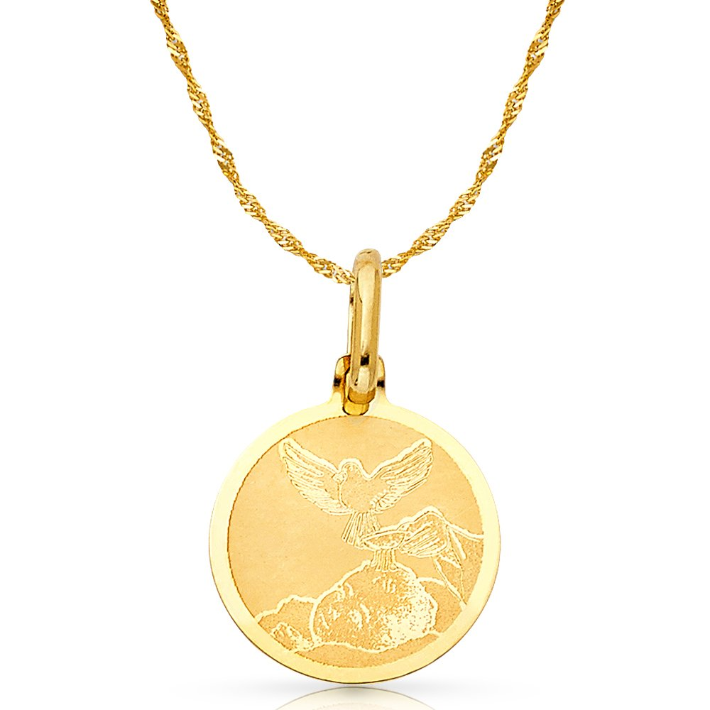 14K Yellow Gold Scorpion Charm Pendant with 1.2mm Singapore Chain Necklace