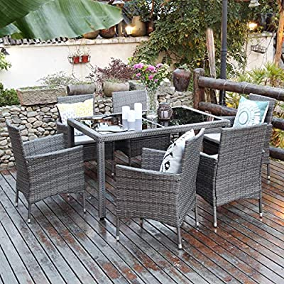 Aok Garden 7-Piece Outdoor Furniture Wicker Square Patio Dining Set Furniture with 6 Chairs - Grey - 【Beautiful & Practical】Strong steel frame with all-weather PE rattan wickers, durable for outdoor use. The environmental protection PE rattan, good toughness, could anti-aging, not perishable. Easy assembly required with included hardware 【Ergonomically Designed for Comfort】- This outdoor Rattan Dining Furniture set comes with sponge padded seat cushions and back cushions. Designed with comfort in mind, it has extra wide seat width and depth perfect for lounging 【Easy to Clean】Table with removable tempered glass adds a sophisticated touch and allows you to places drinks, meals and other accessories on top. And you can clean it easily with just a wipe when there is water strain on it. The separable seat cushion also enables you a quick wash - patio-furniture, dining-sets-patio-funiture, patio - 61ck4gj5lOL. SS400  -