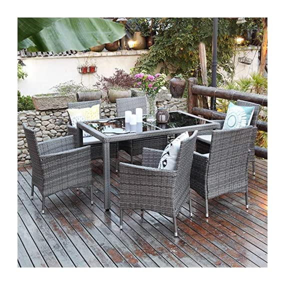 Aok Garden 7-Piece Outdoor Furniture Wicker Square Patio Dining Set Furniture with 6 Chairs - Grey - 【Beautiful & Practical】Strong steel frame with all-weather PE rattan wickers, durable for outdoor use. The environmental protection PE rattan, good toughness, could anti-aging, not perishable. Easy assembly required with included hardware 【Ergonomically Designed for Comfort】- This outdoor Rattan Dining Furniture set comes with sponge padded seat cushions and back cushions. Designed with comfort in mind, it has extra wide seat width and depth perfect for lounging 【Easy to Clean】Table with removable tempered glass adds a sophisticated touch and allows you to places drinks, meals and other accessories on top. And you can clean it easily with just a wipe when there is water strain on it. The separable seat cushion also enables you a quick wash - patio-furniture, dining-sets-patio-funiture, patio - 61ck4gj5lOL. SS570  -