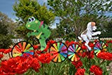 Pinwheel 3 Pack Made of Durable 100% Weatherproof Nylon and Fiberglass | Bicycle wind spinner Brightens your Garden With Fun Colors and Movement.