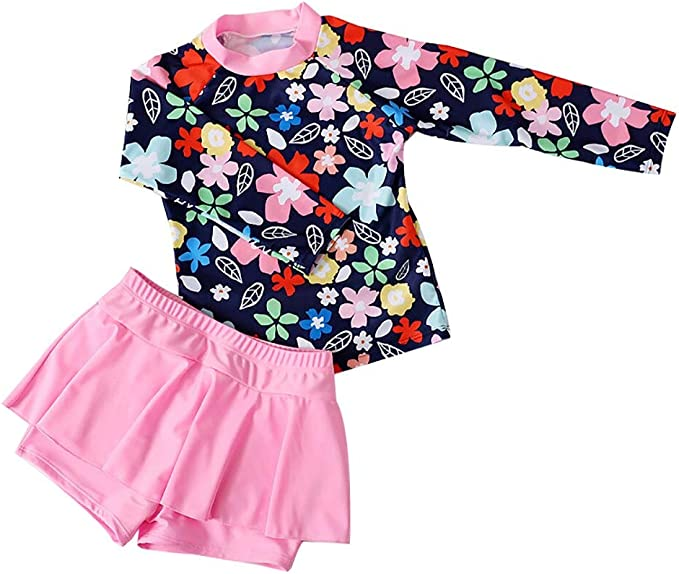 Sywwlov Baby Girls Long Sleeve Swimsuit Kids Toddler Two Piece Rash Guard Sunsuit with Hat UPF 50+