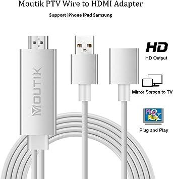 Moutik® Adaptador Cable USB a HDMI, Cable PTV a HDMI Display para ...