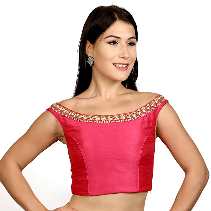 394addbb8dadd5 Rinkoo Women s Dupion Silk Pink Boat Neck Readymade Saree Blouse   Amazon.in  Clothing   Accessories