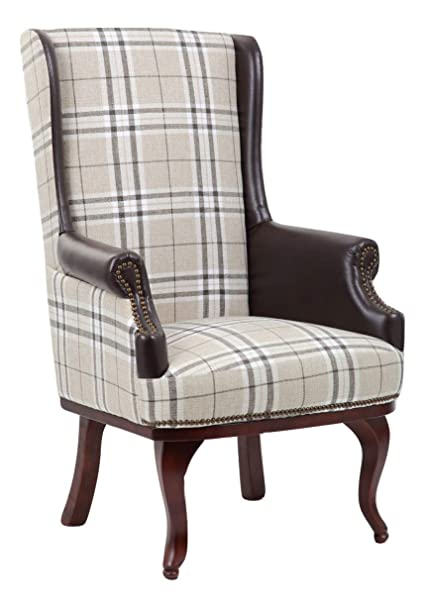Pleasant Queen Anne Chesterfield Style Wing Back Orthopedic Fireside High Back Armchair Chair Bonded Leather And Fabric Creativecarmelina Interior Chair Design Creativecarmelinacom