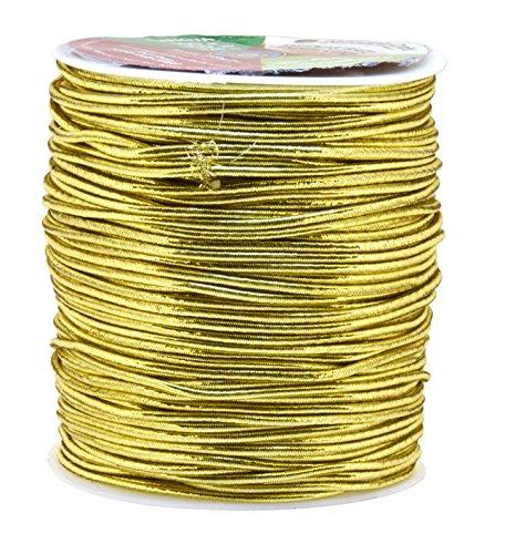 (Mandala Crafts 1mm 1.5mm 2.5mm Jewelry Making Gift Wrap Ribbon Stretch Metallic Tinsel Elastic Cord (1.5mm 109 Yards Light Gold))