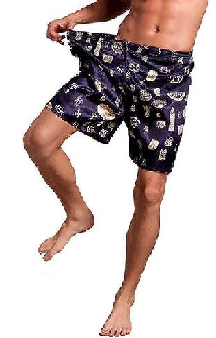 CMCYY Mens Thin Print Loose Faux Silk Summer Shorts Pajama Pants
