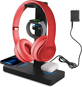 Wireless Charger with Headphone Stand, 4 in 1 Premium Qi-Certified Charging Stand Fast Charger Compatible with iPhone 12/11/Xs/Pro/Pro Max/X/8, iWatch Series&Airpods Pro/2, and Samsung Galaxy Series