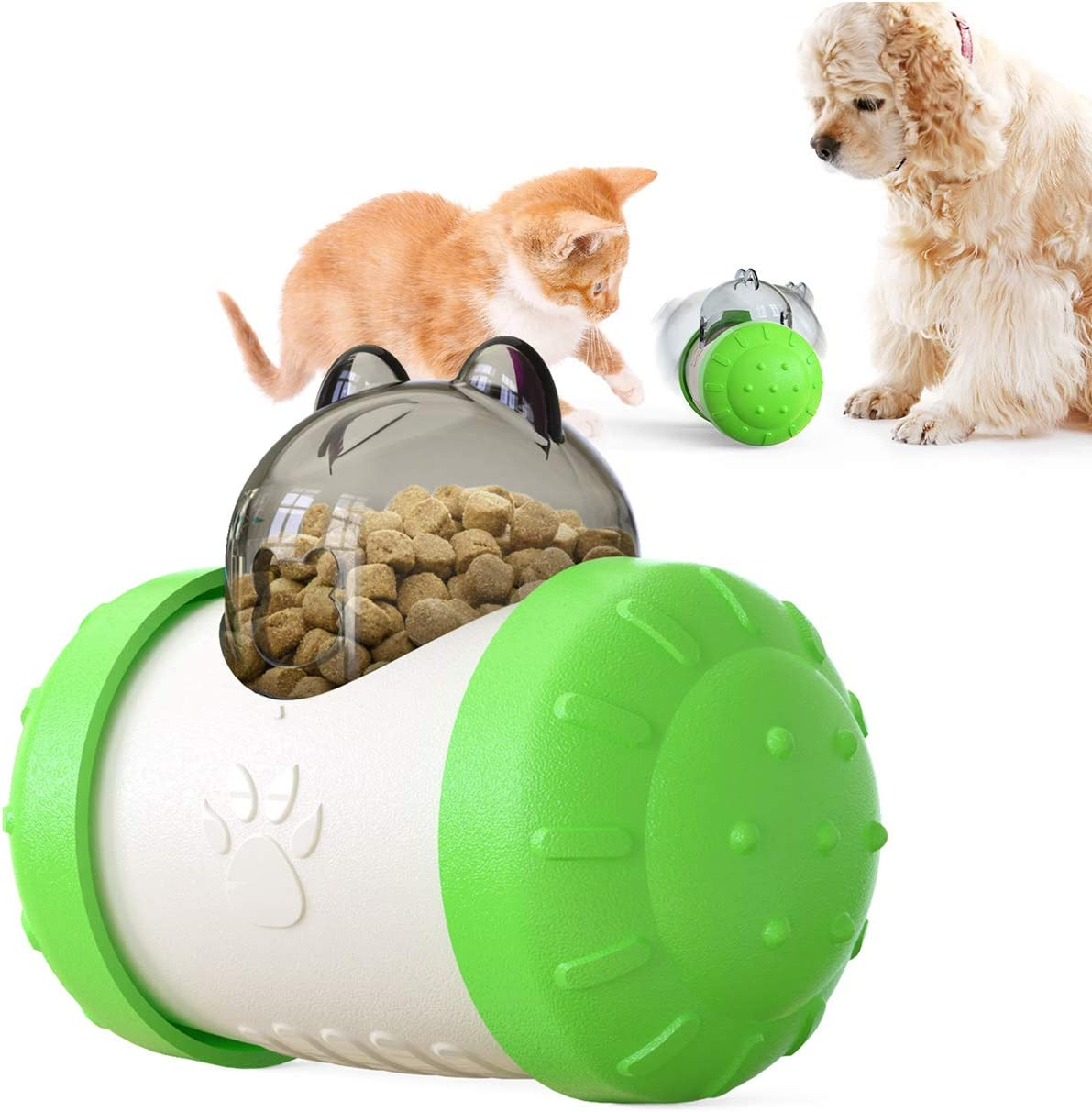 Cat Dog Tumbler Slow Food Feeder Ball, Denkee Automatic Food Dispensing Ball Toys Swing Automatically Food Leakage Interactive Cat and Dog Toys (Green)