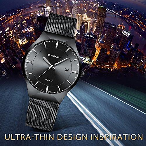 CRRJU Men Business Slim Analog Quartz Watch,Date Black Dial Wrist Watch with Mesh Bracelet Strap by CRRJU (Image #5)'