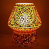 EarthenMetal Handcrafted Red Coloured Crystal Dome Shaped Glass Table Lamp (Small Lamp 17cm)