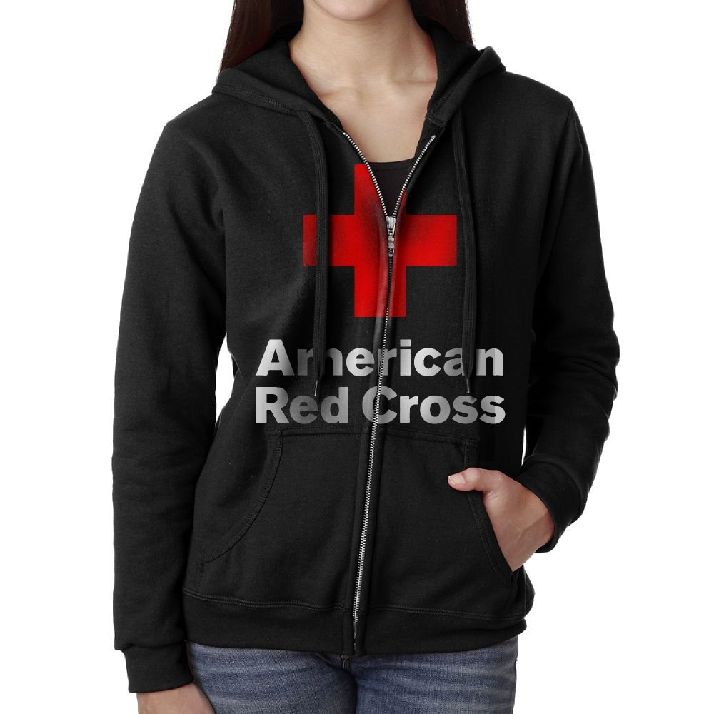 American Red Cross Women's Full Zip Hoodie Sweatshirt With Pockets