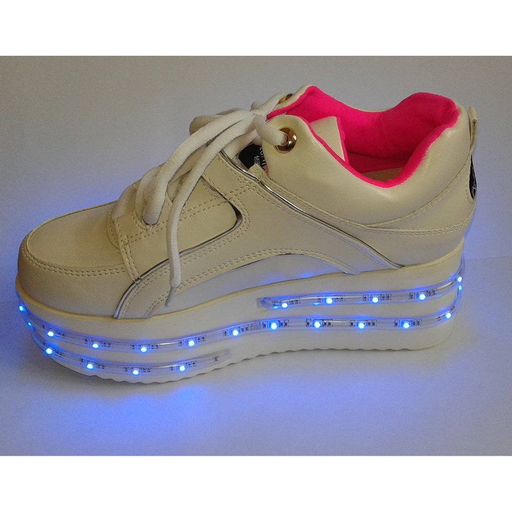ACEVER Flashing with Changing Colors LED Shoes Flashing Sneakers USB Charging LED Lighted Luminous Couple Casual Shoes Men's and Women's LED Shoes LED Sneakers Christmas Cosplay Halloween Party Rave Party Valentine's Day Gift Sports Shoes (US6-Women)