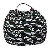 ELEOPTION Stuffed Animal Storage Bean Bag Chair Cover, Large Size 38inch Cotton Canvas Children Plush Toy Organizer Storage Bag Fill Fun Chair for Kids Room or Bedroom (Camo, 38in)
