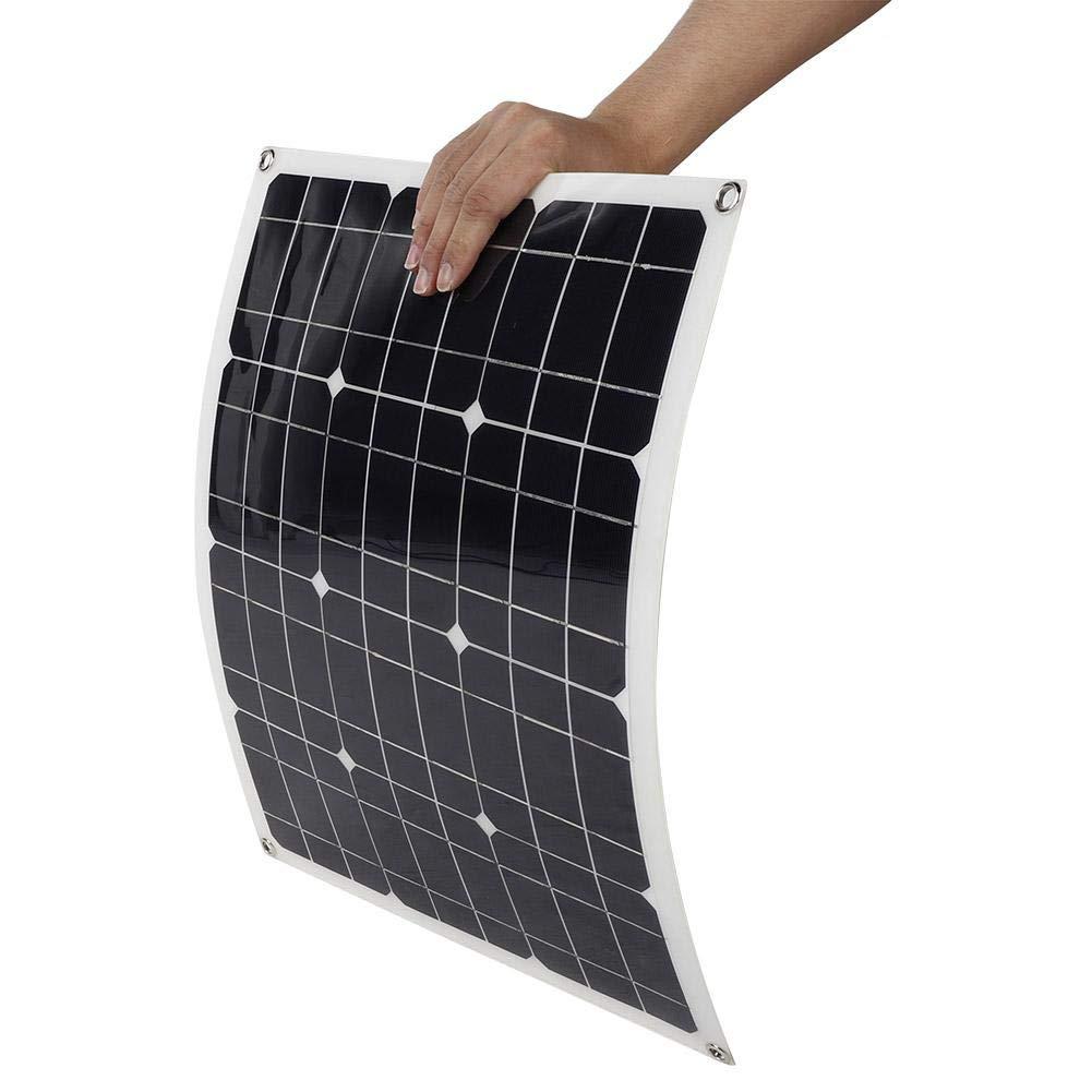 Pokerty Panel Solar Kit de Panel Solar monocristalino para Exteriores de 40 W Panel Solar Flexible con Clip de bater/ía para Acampar Actividades al Aire Libre