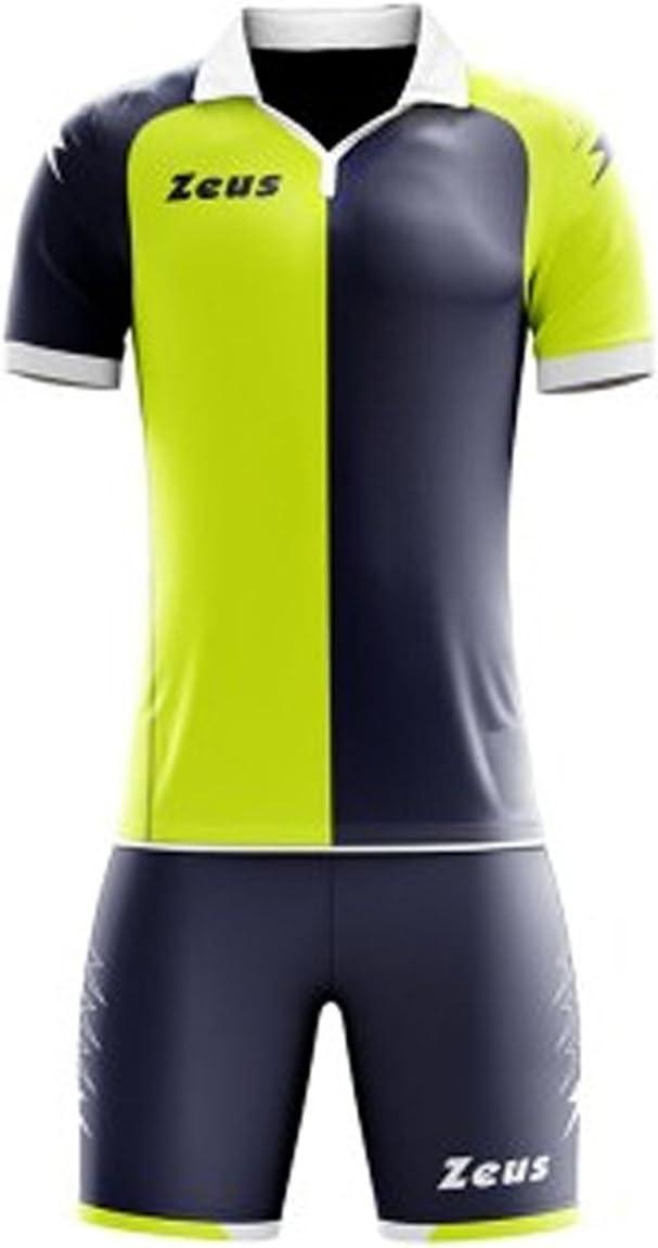 Zeus - Kit de futbolín, Camiseta y pantalón de Deporte, Talla L, Color Amarillo neón y Azul: Amazon.es: Deportes y aire libre