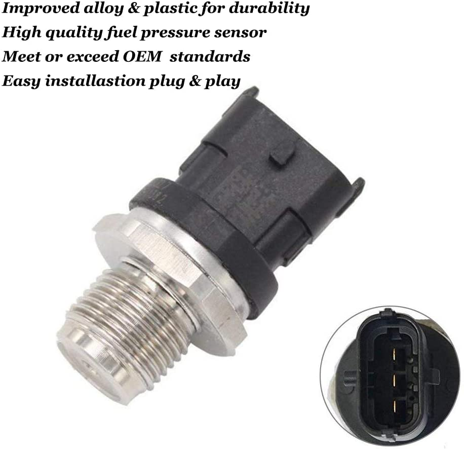 0281006327 Fuel Injection Fuel Rail Pressure Sensor for 2007-2012 Dodge Ram 2500 3500 6.7L Cummins Replace OE# 0281006327 028102850 5261237