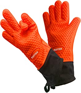 FUTTEK Oven Gloves, Silicone Grill Gloves with Ultra-long and Extended Wrist Guard, Extreme Heat Resistant to 446°F, Cooking Gloves for BBQ/Baking/Grill/Smoker; 1 Size Fits Most, 1 Pair, Orange
