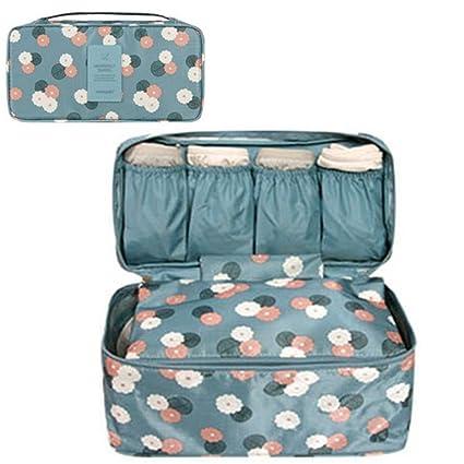GossipBoy Neceser multiusos, con divisores para almacenar ropa interior, para sujetadores y braguitas, bolsa portátil para viajes, tela, azul, ...