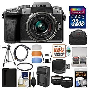 Panasonic Lumix DMC-G7 4K Wi-Fi Digital Camera & 14-42mm Lens (Silver) with 32GB Card + Case + Battery & Charger + Tripod + Tele/Wide Lenses Kit