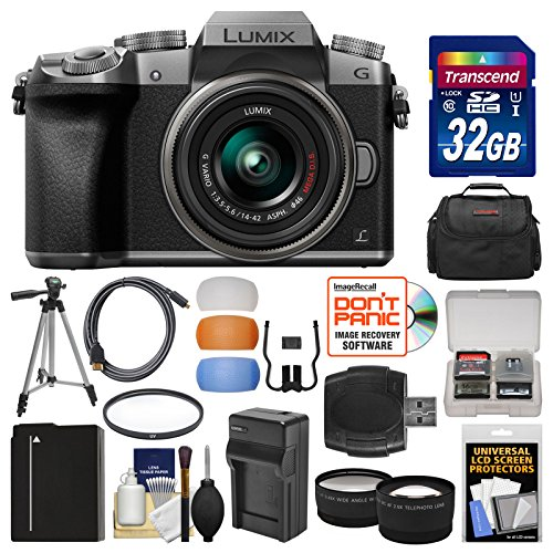 - Panasonic Lumix DMC-G7 4K Wi-Fi Digital Camera & 14-42mm Lens (Silver) with 32GB Card + Case + Battery & Charger + Tripod + Tele/Wide Lenses Kit