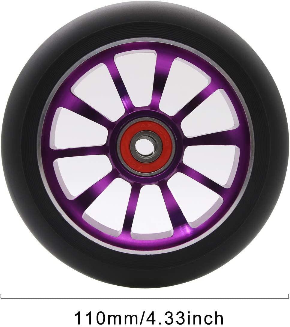 Z-FIRST 2PCS Replacement 110mm Pro Scooter Wheel with ABEC 9 Bearings Fit for MGP//Razor//Lucky Pro Scooters