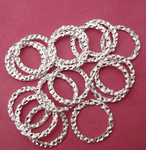 BeadsTreasure Connector Textured Hammered 22mm 10pcs