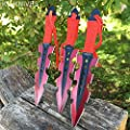 "3 pcs. 7.5"" Ninja Tactical Combat RED Kunai Throwing Knife Set w/Sheath Hunting"