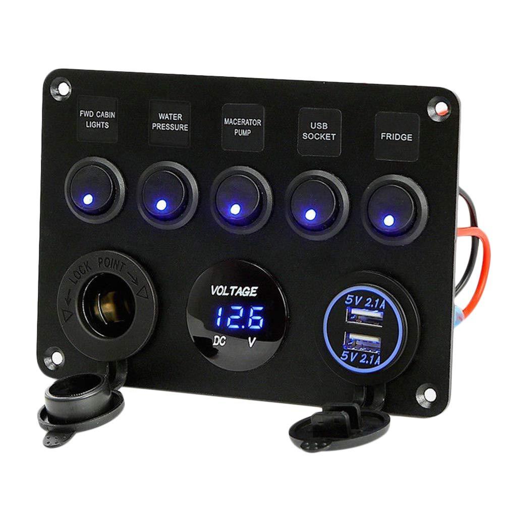 Niome Panel de interruptor de encendido//apagado con 2 USB y volt/ímetro LED para cami/ón yate barco remolque caravana coche 12 V//24 V azul