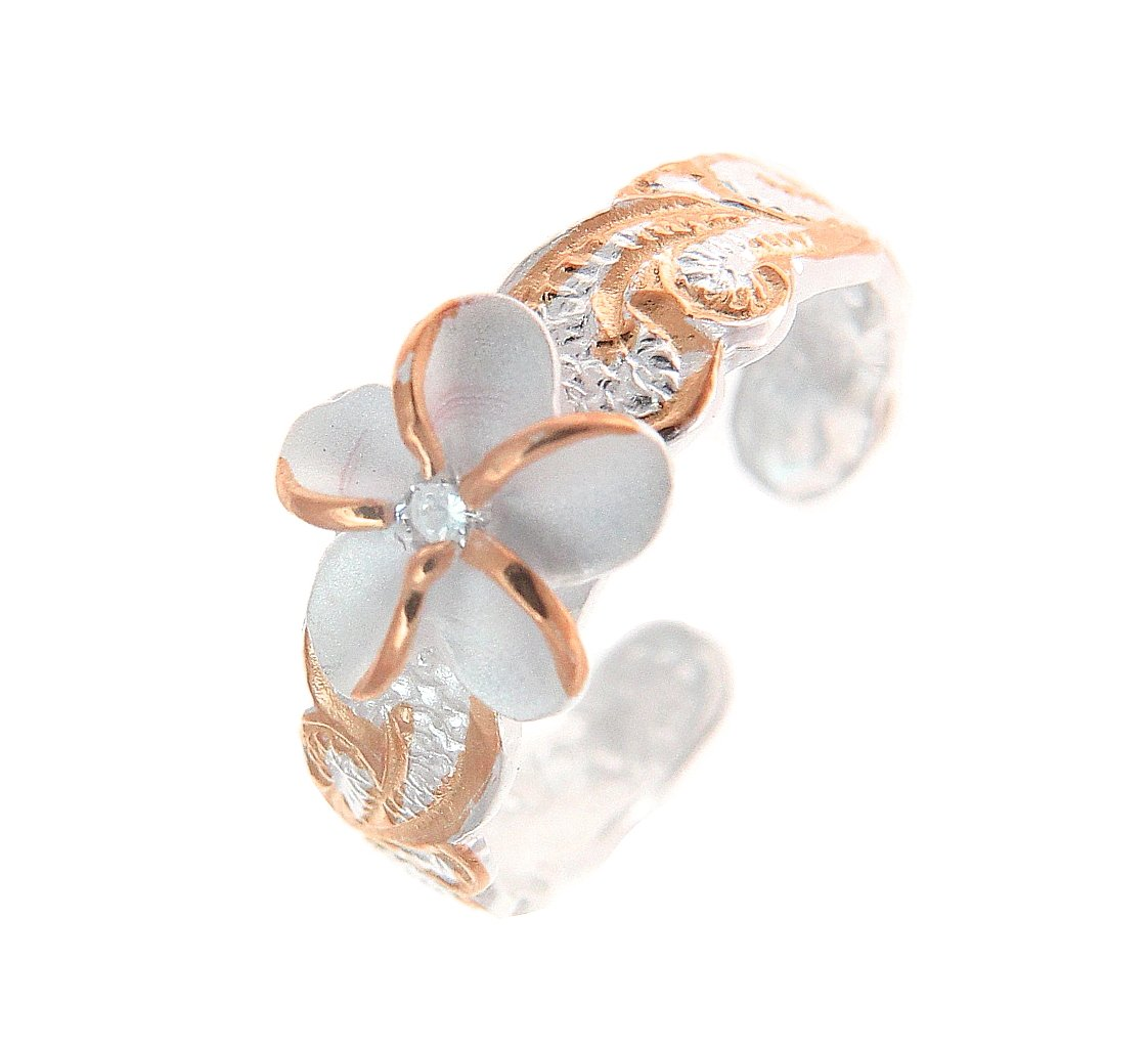 925 sterling silver 2 tone pink rose gold plated 8mm Hawaiian scroll plumeria flower cz toe ring
