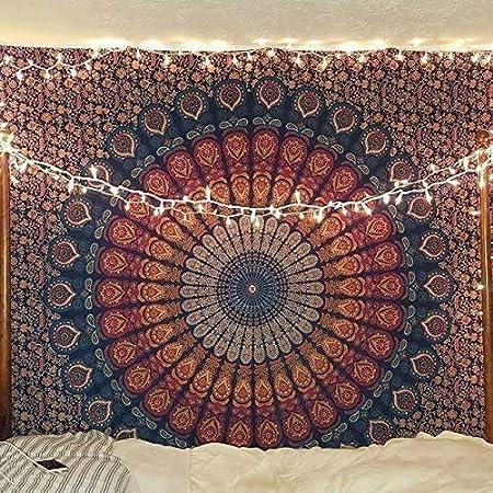 RAJRANG - Tapiz con diseño bohemio de mandala, para colgar en la pared, hecho a mano, en algodón puro, ideal para colgar en el cabecero de la cama: Amazon.es: Hogar
