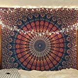 Bless International Indian Hippie Bohemian Psychedelic Peacock Mandala Wall Hanging Bedding Tapestry Bundle Of Twin And Queen Sizes