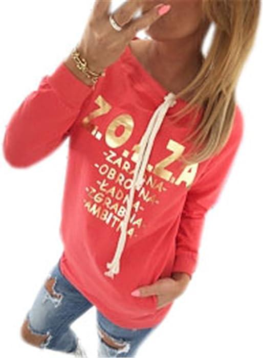 COCO clothing Sudaderas de Mujer Camisetas Chica Alfabeto Estampado Deportivas Bolsillos Sweatshirt Otoño Pullover Casual Tops Blusas