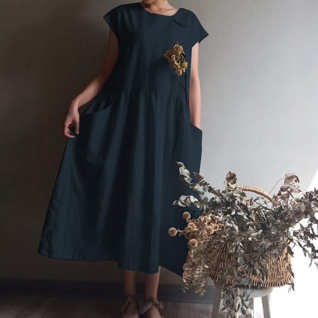 Women's Cotton Linen Dresses Cap Sleeve Summer Maxi O Neck Dress with Pockets Navy by Jianekolaa_Dress (Image #3)