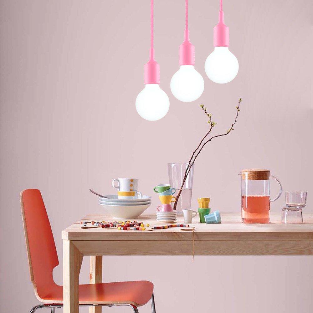 Adjustable Length Max 155CM ENUOTEK Black Ceiling Pendant Chandelier Light Hanging Lamp Holder Cord with E27 Edison Socket for Kitchen Dinner Room Office