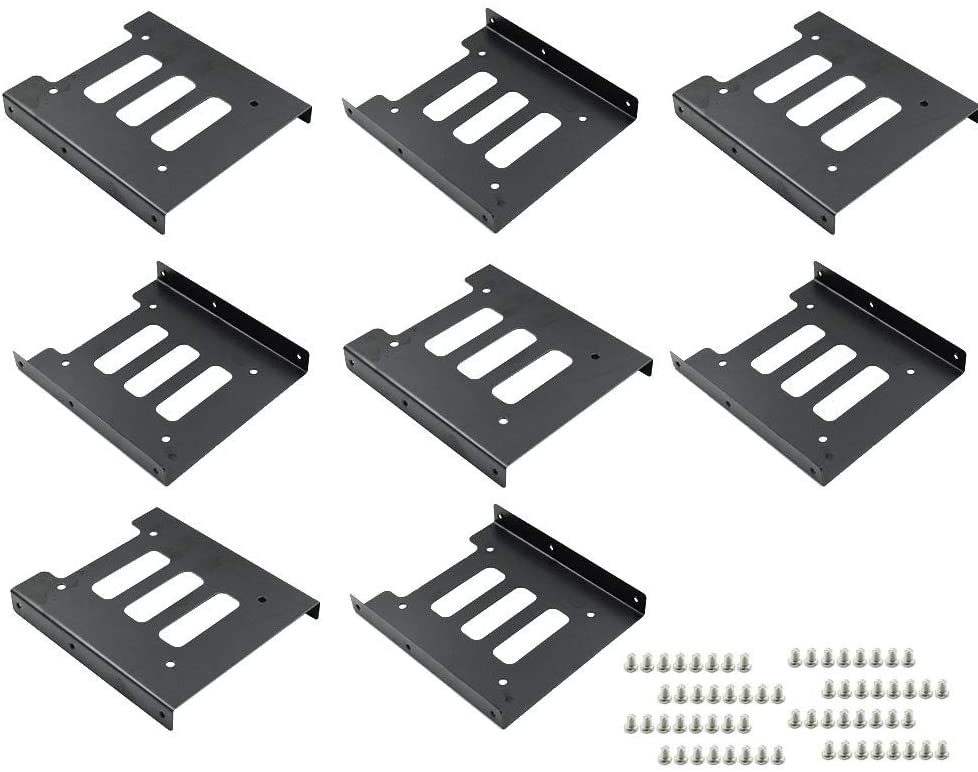 "TUOREN 8Pcs 2.5"" to 3.5"" SSD HDD Hard Disk Drive Bays Holder Metal Mounting Bracket Adapter with Screws for PC"