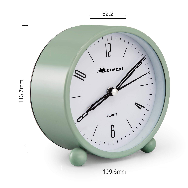 Simple Design Beside Desk Alarm Clock White Alarm Clock Mensent 4 Inch Round Silent Analog Alarm Clock Non Ticking With Night Light Battery Powered Super Silent Alarm Clock Alarm Clocks