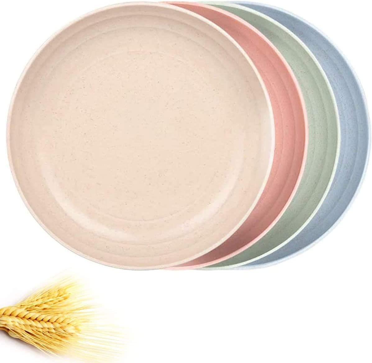 Cereal Plates Large, 10 Inch Dishes Fruit Dish, Wheat Straw Fiber Plates Sets 4, Dishwasher & Microwave Safe Dishes for Cereal, Salad, Noodle, Rice, Veggie, Dessert, Snack, Kitchen Dining Dinnerware