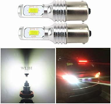 WLJH 2pcs BA15S 1156 LED Bulbs Super Bright White High Power 1000 Lumens 80W Auto LED Brake Back up Reverse Tail Lights Lamp,Plug-n-Play