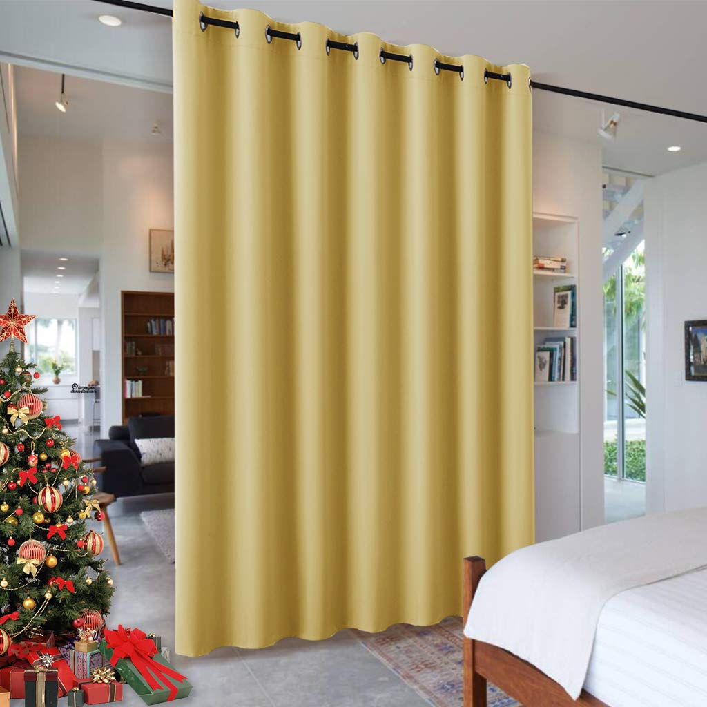 RYB HOME Living Room Curtains - Blackout Thermal Window Drapes, Light Block Privacy Noise Reduce for Bedroom Doorway Dining Foyer Home Theater Backdrop, 100 inch Width x 84 inch Length, Mustard Yellow