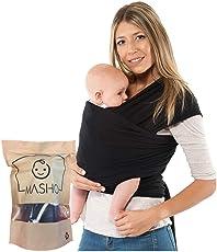 Fular elástico/Baby wrap (portabebés), EL ÚNICO CON DOS TALLAS, rebozo para múltiples amarrados y posiciones, Negro, 100% algodón respirable con spandex, para bebés de 0 a 15 kg, Talla XS a M (4.5 mts)