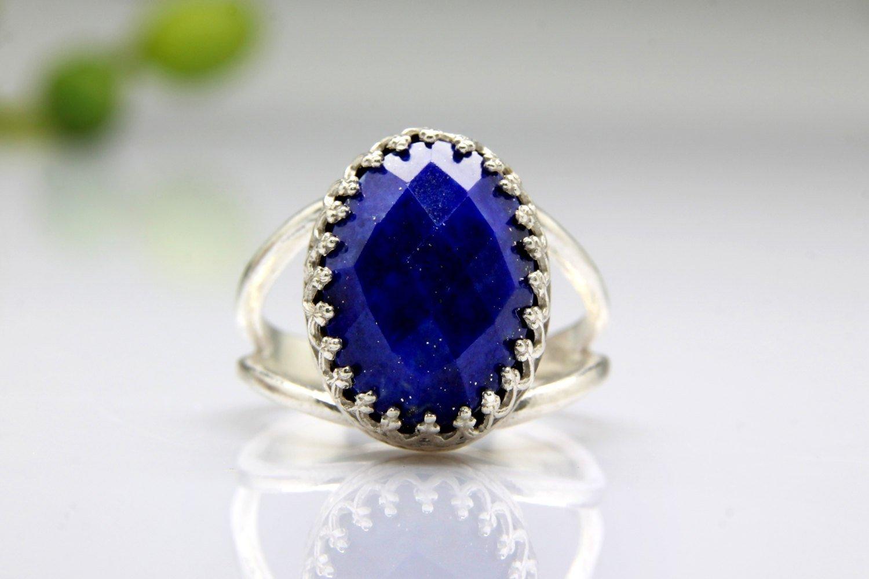 Lapis ring, silver ring, Oval ring, silver gemstone ring, birthday ring, spring jewelry, custom rings