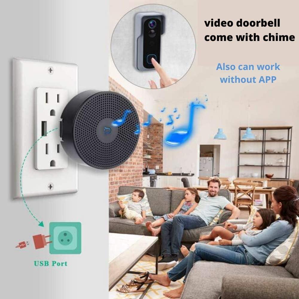C/ámara de v/ídeo inal/ámbrica WiFi inteligente con sensor de movimiento 166/° 2 canales de audio resistente al agua IT STORE Video Doorbell IP65 2,4 GHz WiFi visi/ón nocturna