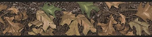15/' MOSSY OAK OUTDOORS WOODS LEAVES CAMOFLAUGE PEEL /& STICK BORDER FREE SHIPPING