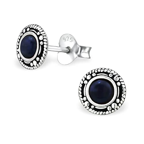 96203f464 Image Unavailable. Image not available for. Color: Sterling Silver Genuine  Sodalite Round Wholesale Stud Earrings With Gift Box