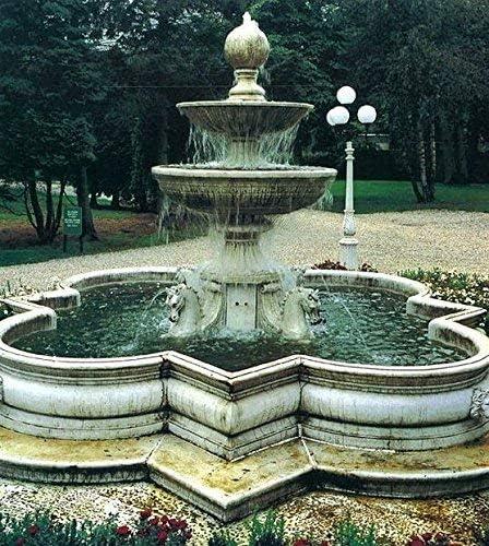 pompidu-living Etagenbrunnen, Pozo Jardín, Fuente Ornamental con 4 Caballos Y Reborde H 320 Ø 525 - Terracota: Amazon.es: Jardín