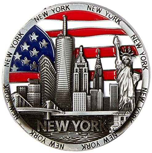 (Cirlce US Flag New York Souvenir Metal Fridge Magnet Brooklyn Bridge NYC Statue of Liberty NY Empire State Building NY Skyline Metal Magnet)